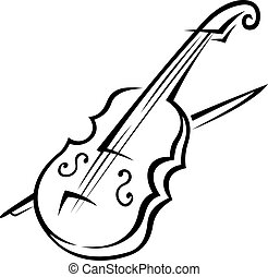 Black and white doodle sketch of a violin isolated on white background for music design