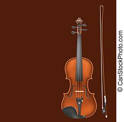 violin and bow on dark background. vector