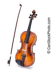 Violin and bow standing on white background