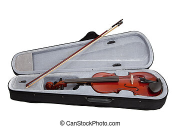 Violin and case on a white background