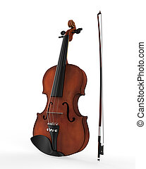 Violin and Fiddle Stick Isolated on White Background. 3d render