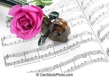 Violin and Rose - Rose, Violin and Music Notes