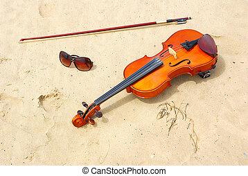 Violin and sunglasses