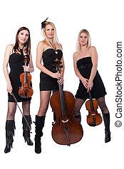 Violin and violoncello players