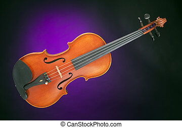 Violin antique isolated on Purple