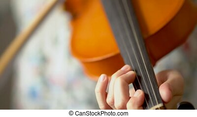 violin., au-dessus, vue., main, jouer, violiniste, jeune, ...