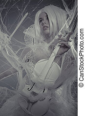 Violin beautiful woman trapped in a spider web, lace dress