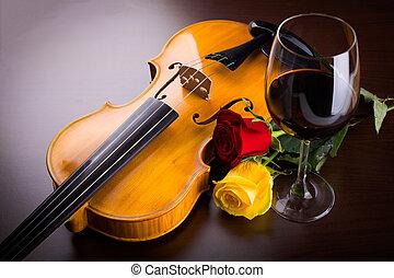 violin, blomst, og, rød vin