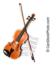 Violin, bow and music - A violin and bow on top of a piece...