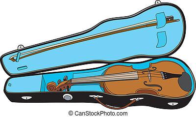 Violin in its case