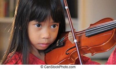violin-close, meisje, gebruik, op, haar