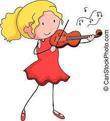 Violin - Close up girl playing violin alone