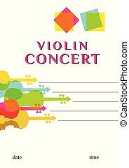 Violin concert vector poster template
