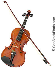 Violin and fiddlestick isolated with clipping path