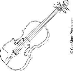 Violin Drawing - Contour Vector Drawing Illustration of...