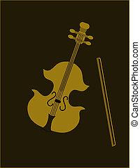 Violin on black background, illustration.