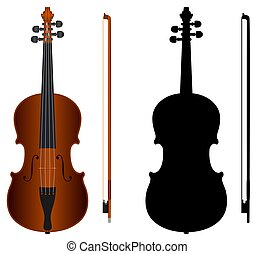 violin - isolated violin with black silhouette on white...