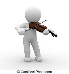 Violin - 3d human plays with his violin