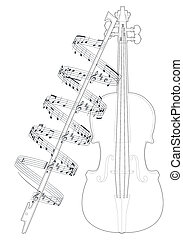 violin  - Vector illustration violine with note