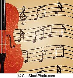 violin - grunge violin with key note, retro background