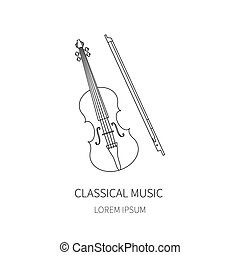 Violin fiddle bow on white background.Vector line icon.