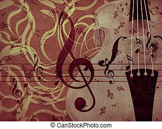 Violin floral background