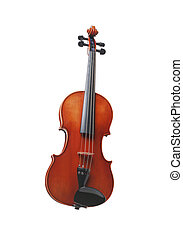 Violin front view isolated