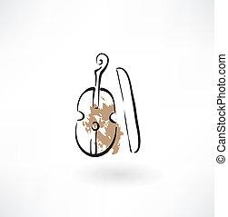 violin grunge icon
