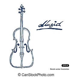Violin. Hand drawn vector isolated on white