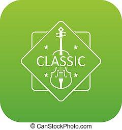 Violin icon green vector