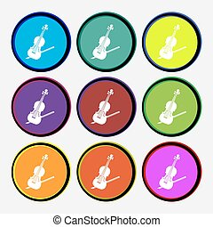 Violin icon sign. Nine multi colored round buttons. Vector