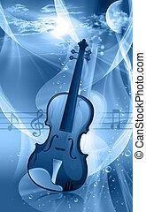 Violin - Illustration of a violin in radiant red light