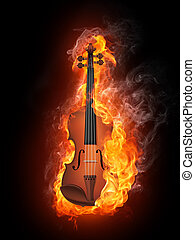 Violin in Fire Isolated on Black Background