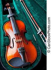 violin in green velvet box