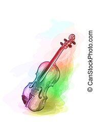Violin in iridescen colours. Vector illustration.