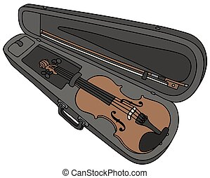 Violin in the case - Hand drawing of a violin in the case