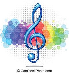 Violin key - Blue glossy violin music key on a rainbow ...