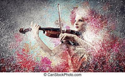 violin, kvinna, leka, underbar