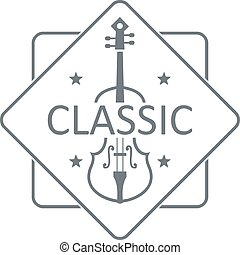 Violin logo, simple gray style