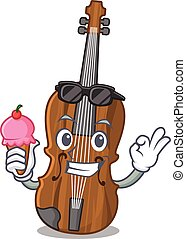 Violin mascot cartoon design with ice cream