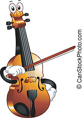 Violin Mascot - Mascot Illustration of a Violin Holding a...