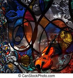 violin, modern konst, komposition