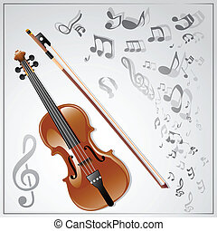 Violin. Musical background - Background with a violin and...
