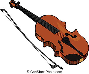 violin and bow vector clip art - search illustration, drawings, and