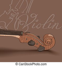 violin neck on brown background. drawing by hand vector illustration