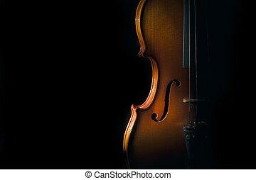 Violin on a black background with spot light