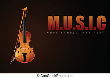 Violin on Music Background
