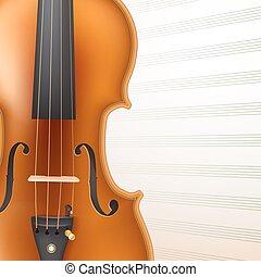 violin on musical sheet background. vector illustration