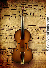 violin on note background