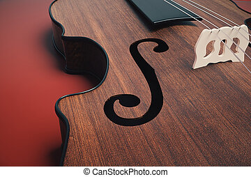 Violin on red background closeup